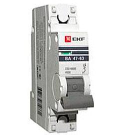 Автоматический выключатель ВА 47-63 PROxima 1P 0,8А(C) 4,5kA EKF