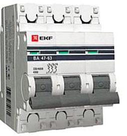 Автоматический выключатель 3P 20А (В) 4,5kA ВА 47-63 EKF PROxima
