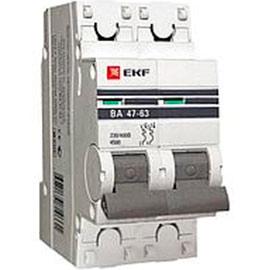 Автоматический выключатель 2P 10А (D) 4,5kA ВА 47-63 EKF PROxima