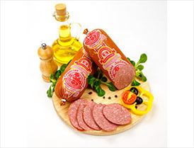 Сервелат Любимый варено-копченая салями высший сорт