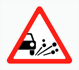 Светодиодный знак дорожный Выброс щебня