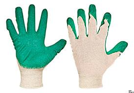Перчатки х/б 1-ый латекс, зел.,13кл