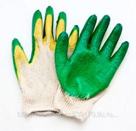 Перчатки х/б 2-ой латекс, зел/жел,13кл
