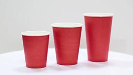 Стакан бумажный однослойный красный 250-300 мл