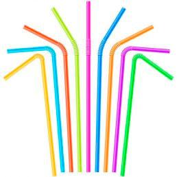 Трубочки с изгибом цветные 210*5