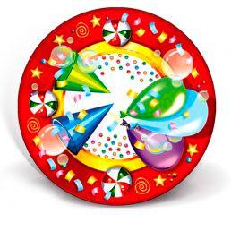 Тарелка бумажная ГИФТ (д=170, д=210, д=230) День рождения