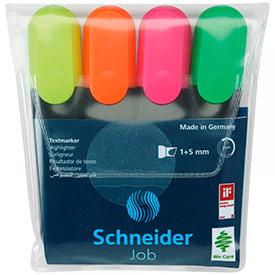 Набор текстовыделителей Schneider 'Job' 4цв., 1-5мм, прозрачный чехол