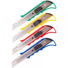 Нож канцелярский 18мм OfficeSpace, усиленный, с фиксатором, металл. направляющие, европодвес