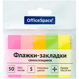 Флажки-закладки OfficeSpace, 50*14мм, 50л*5 неоновых цветов, европодвес