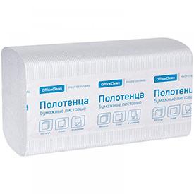 Полотенца бумажные лист. OfficeClean 'Professional'(V-сл), 2-х слойн., 200л/пач, 21*21,6, тисн,белые
