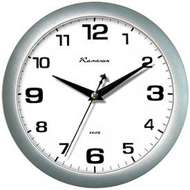 Часы настенные ход плавный, Камелия Серебро, круглые, 29*29*3,5, серебристая рамка