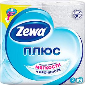 Туалетная бумага ZewaПлюс белая, 1*4рул