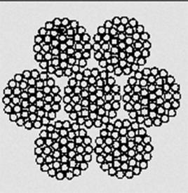Канат стальной двойной свивки типа ТК конструкции 6x37(1+6+12+18)+1x37(1+6+12+18) ГОСТ 3068–88