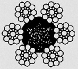 Канат двойной свивки типа ЛК–0 конструкции 6х19(1+9+9)+1о.с ГОСТ 3077-80