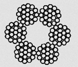 Канат двойной свивки типа ЛК–О конструкции 6х30 (0+15+15)+7о.с. ГОСТ 3083–80
