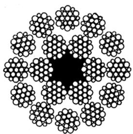 Многопрядный канат типа ЛК-Р 18х19 (1+6+6/6) + 1 о.с. ГОСТ 3088-80
