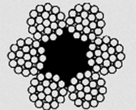 Канат двойной свивки типа ЛК–З конструкции 6х25(1+6;6+12)+1о.с ГОСТ 7665–80