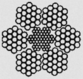 Канат двойной свивки типа ЛК–З конструкции 6х25(1+6;6+12)+7х7(1+6) ГОСТ 7667–80