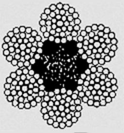 Канат двойной свивки типа ЛК–РО конструкции 6х36(1+7+7/7+14)+1о.с ГОСТ 7668–80