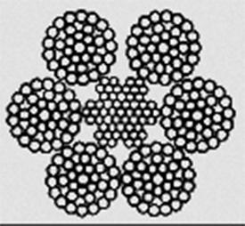 Канат двойной свивки типа ЛК–РО конструкции 6х36(1+7+7/7+14)+7х7(1+6) ГОСТ 7669–80