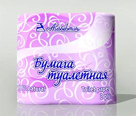 Бумага туалетная светлая двухслойная с перфорацией 4 рулона по 150 листов 90х123мм арт. 12С10705 - ОАО Альбертин (Беларусь)