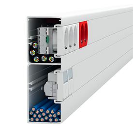 Кабельные каналы OptiLine 45 двухсекционный с двумя крышками и увеличенным отсеком под слаботочные кабели 165х55