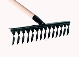Грабли металлические витые 12 зубьев с черенком
