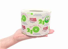 Бумага туалетная на втулке Новинка СУПЕР 210 однослойная