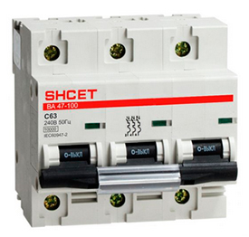 Автоматический выключатель ВА 47-100 3Р 63А 10кА хар.D SHCEТ