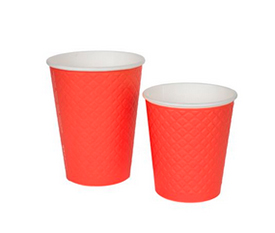 Бумажные стаканчики Двухслойные Waffle Red