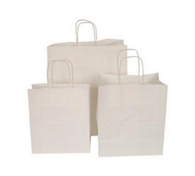 Бумажные пакеты с кручеными ручками Крафт белый 80 г
