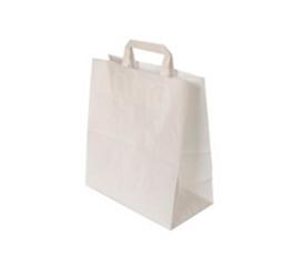 Бумажные пакеты с П-ручками Крафт белый 80 г