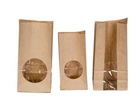 Бумажные однослойные и двухслойные пакеты с прямоугольным дном с окном