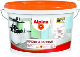 Краска Альпина Кухня и Ванная 2,5 л (3,6 кг) белая База 1 ВД-ВАЭ