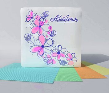 Салфетки бумажные цветные по 100шт. 230х230 арт.11С6705 - ОАО Альбертин (Беларусь)