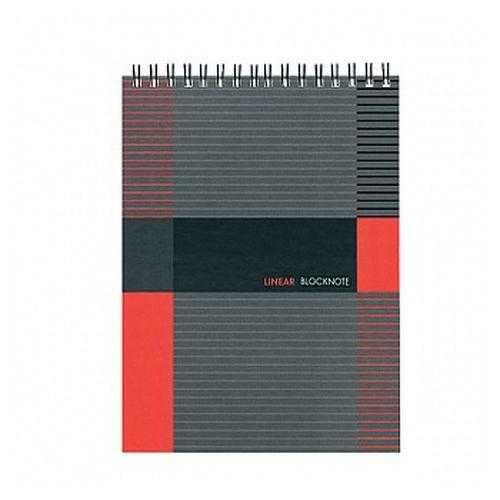 Блокнот А5 80 листов ЛИНЕР евроспираль, тв. обложка -
