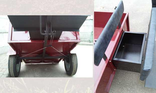 Тележка для мотоблока ТМ-4/600 (грузоподъемность 600кг) с инструментальным ящиком и мягким сиденьем, колеса 5x10