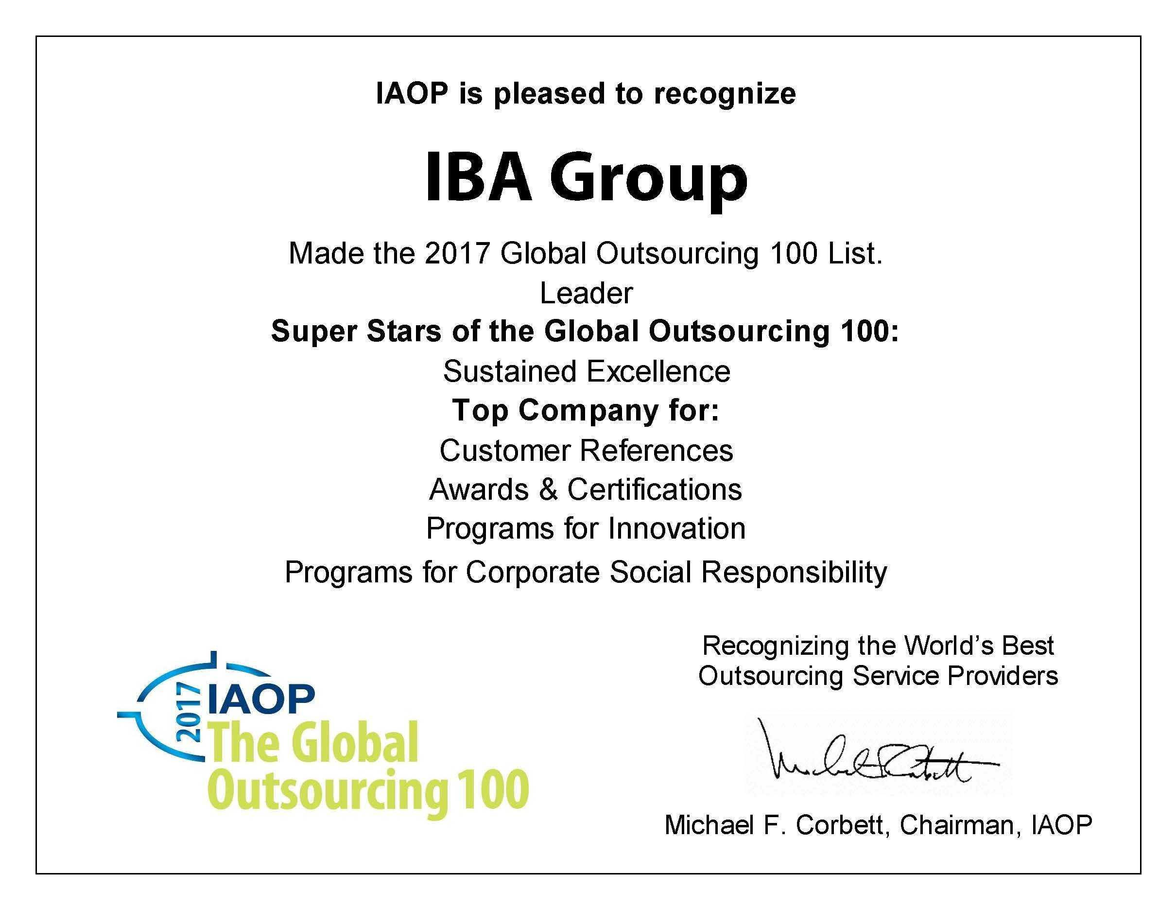IBA Group — «суперзвезда» рейтинга «GlobalOutsourcing 100» и лучшая компания в четырех категориях
