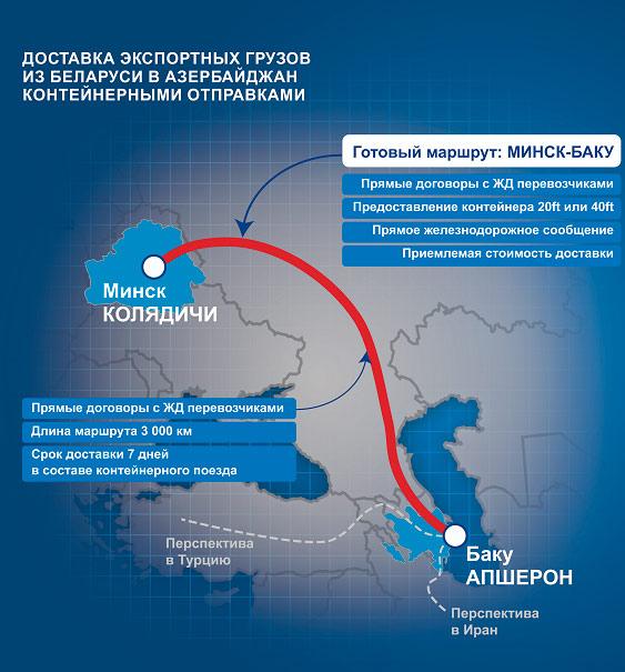 Новый регулярный контейнерный поезд Минск-Баку