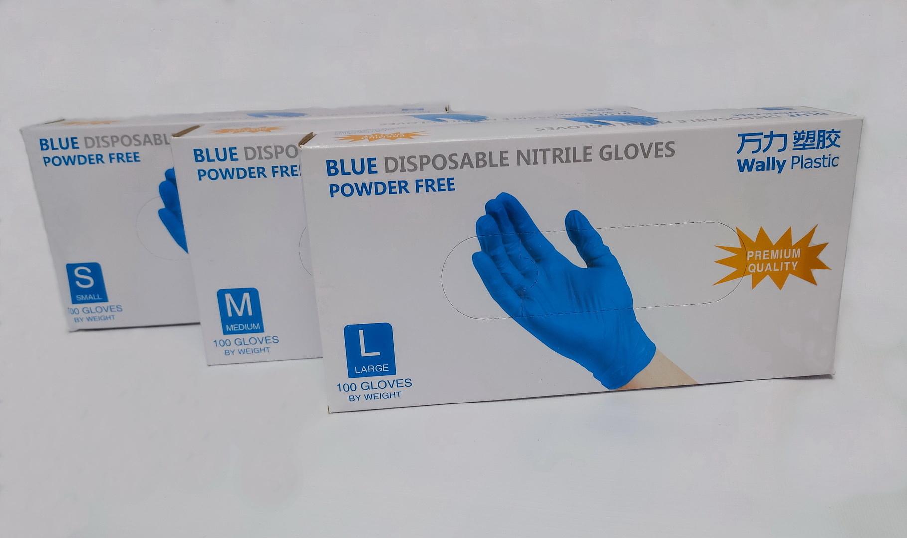 Новинка! Перчатки одноразовые Wally Plastic нитрил 100%, голубые - 100 шт (50 пар), размеры S, M, L — 36 руб/упаковка.
