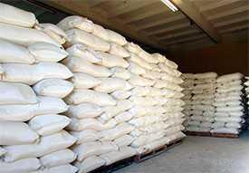 Склад для хранения сыпучих продуктов питания в мешках.