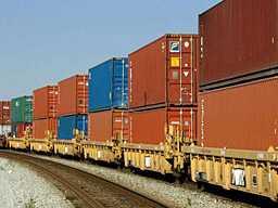 Подача морского контейнера на ж/д платформе