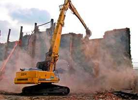 Демонтаж сооружений и зданий при использовании гидромолота, гидроножниц, демолятора