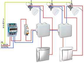 Общая разводка электрики (розетки, выключатели)