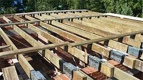 Монтаж деревянного перекрытия из бруса