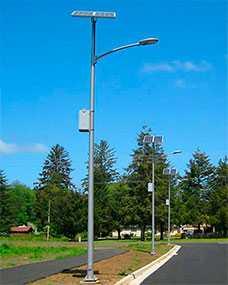 Установка столбов наружного светодиодного освещения