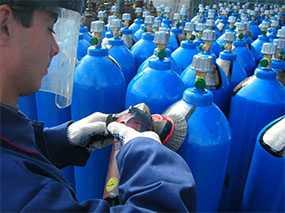 Ремонт кислородных и углекислотных баллонов емкостью до 55 л с рабочим давлением до 22,5 Мпа